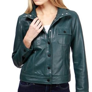 Lucky Brand Green Leather Jacket